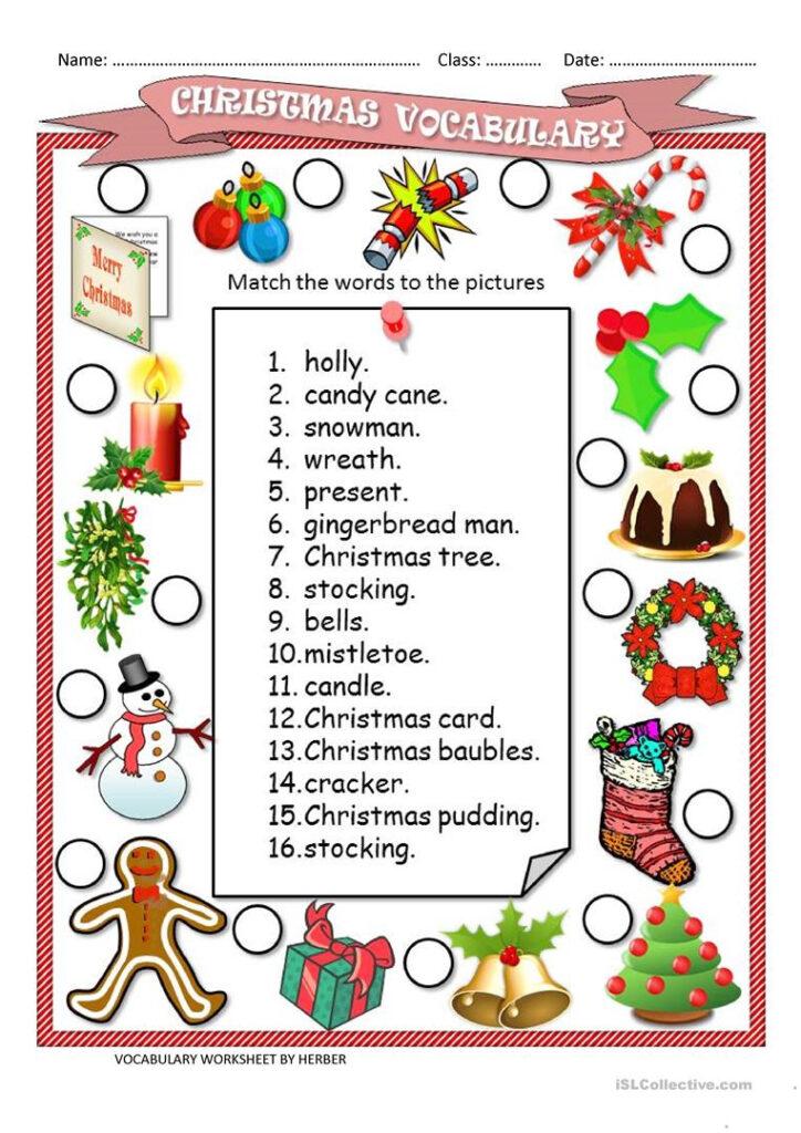 English Esl Christmas Vocabulary Worksheets   Most