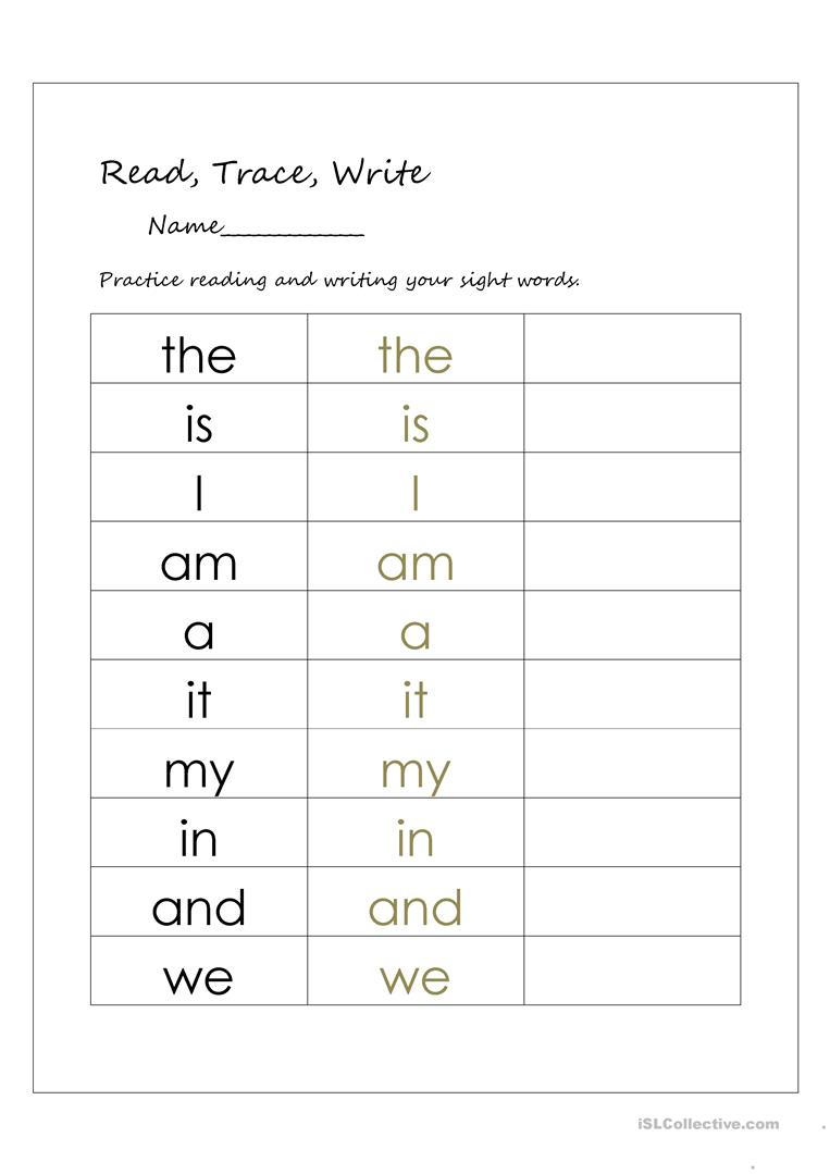 English Esl Sight Words Worksheets - Most Downloaded (26