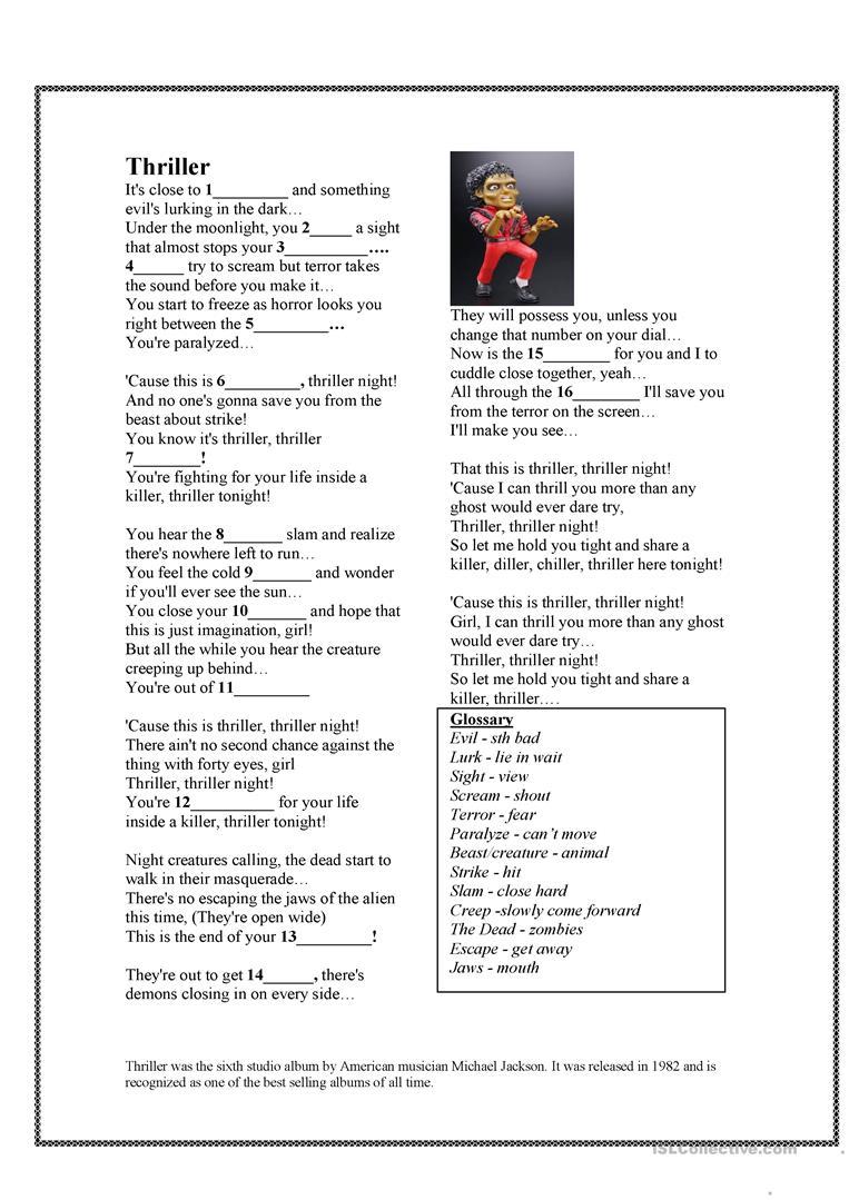 English Esl Thriller Worksheets - Most Downloaded (12 Results)