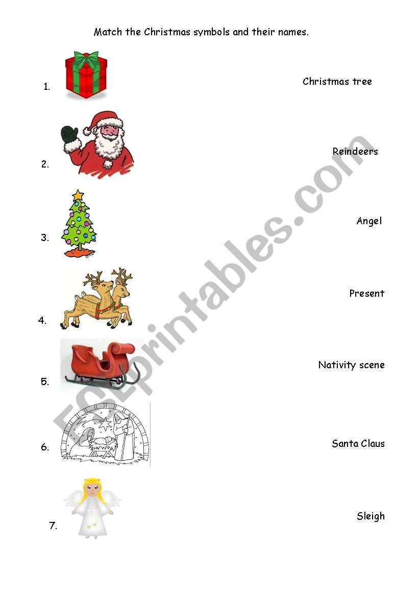 English Worksheets: Christmas Symbols