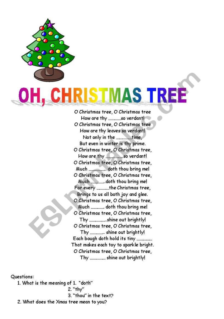 English Worksheets: Christmas Tree