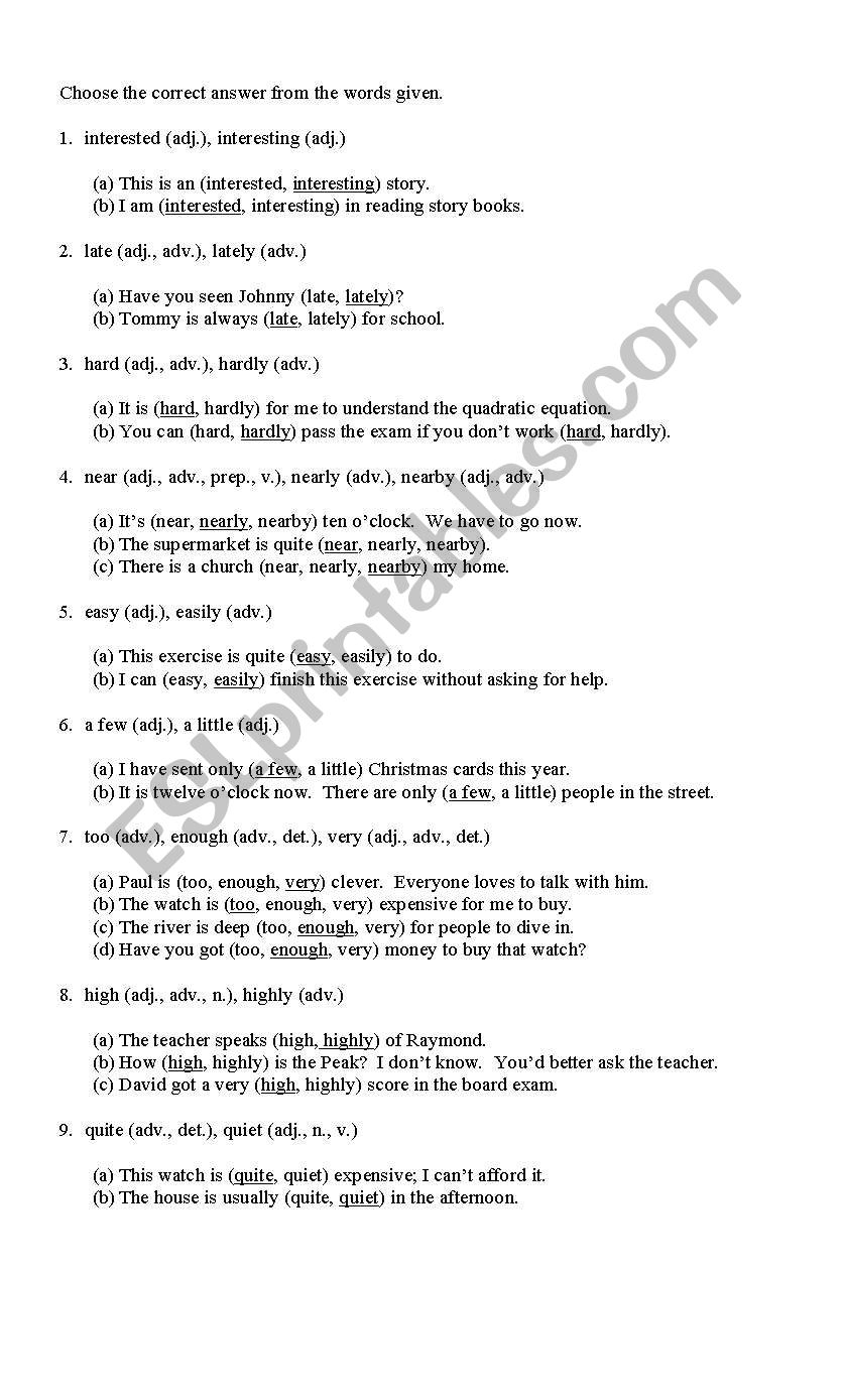English Worksheets: Confusing Words (Answer Key)