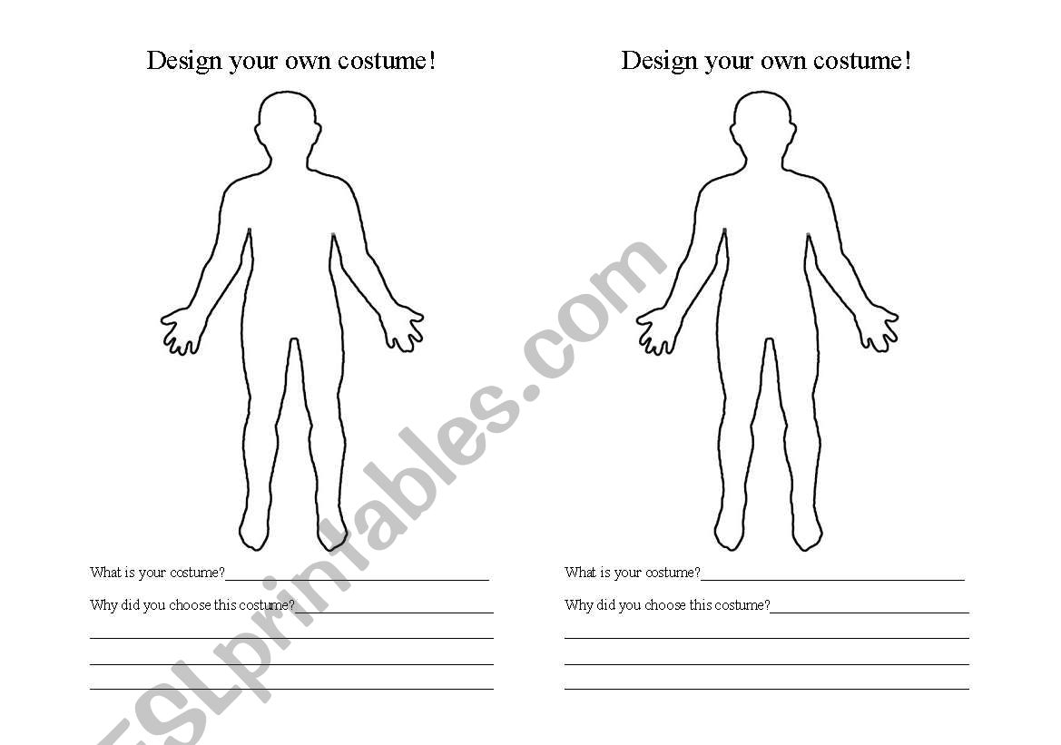 English Worksheets: Design Your Own Halloween Costume!