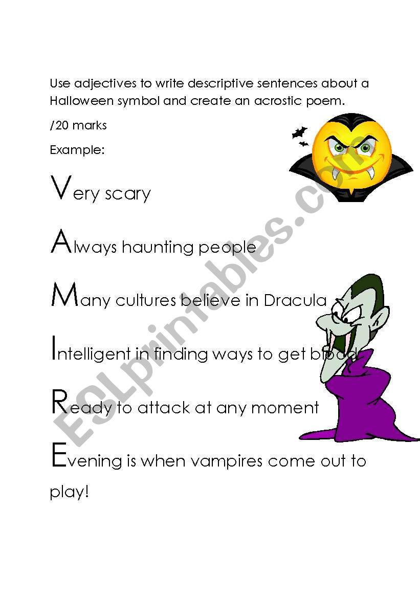 English Worksheets: Halloween Acrostic Poem