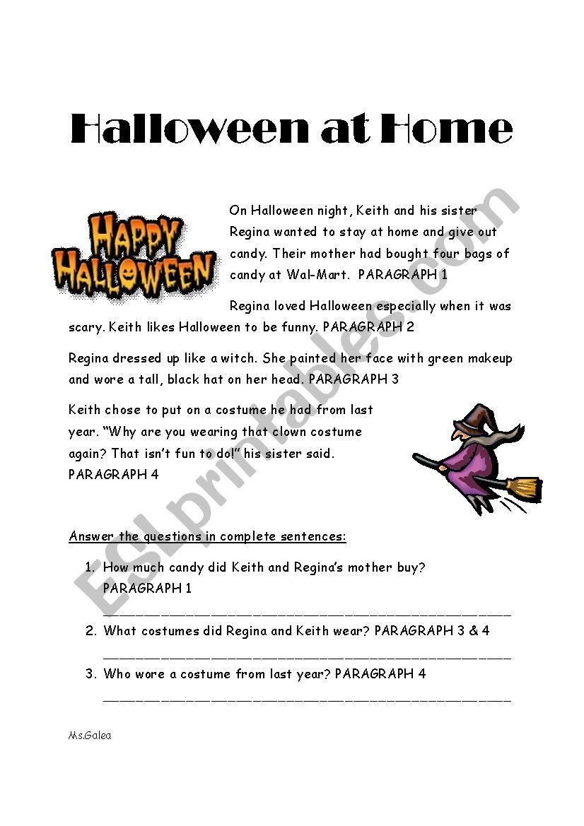 English Worksheets: Halloween Reading Comprehension