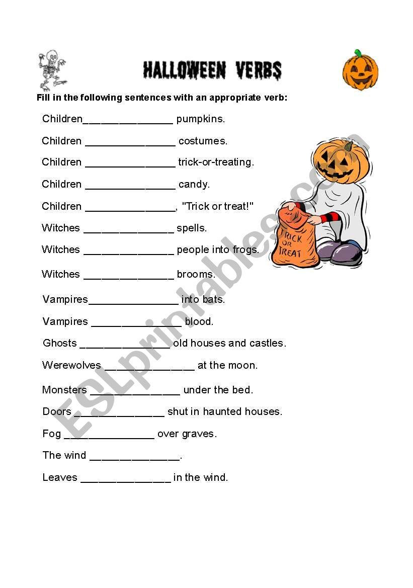 English Worksheets: Halloween Verbs