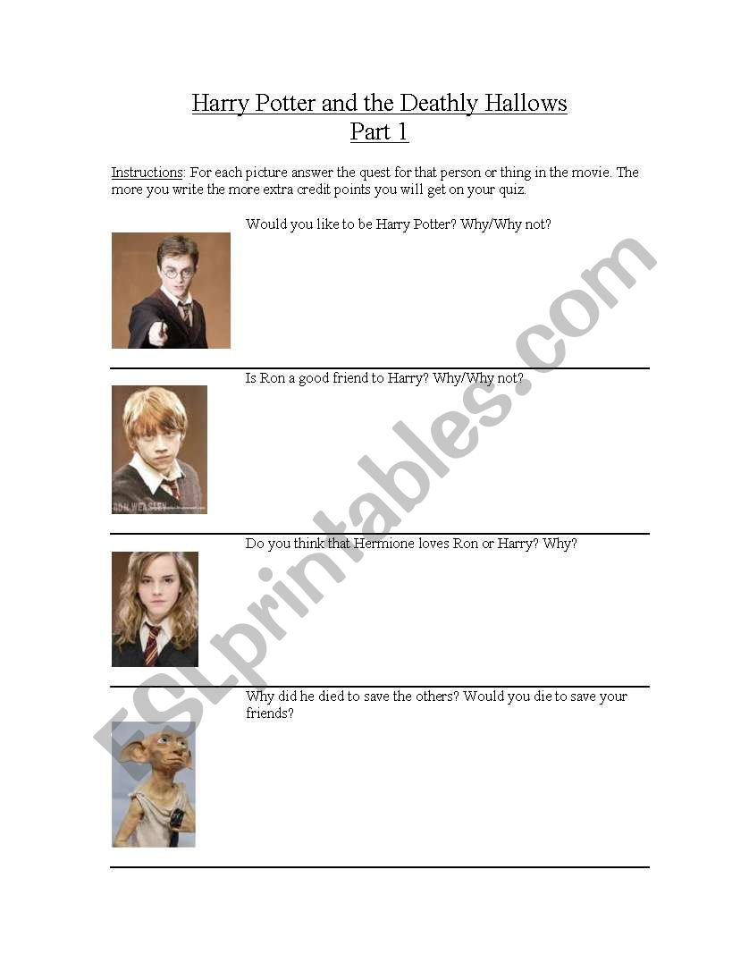 English Worksheets: Harry Potter And The Deathly Hallows Part 1