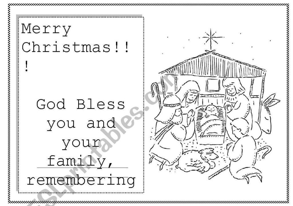 English Worksheets: Merry Christmas Card