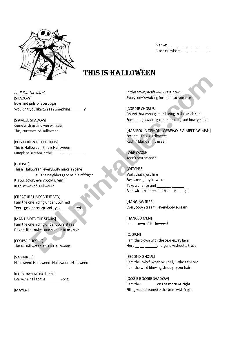 English Worksheets: This Is Halloween Cloze And Matching