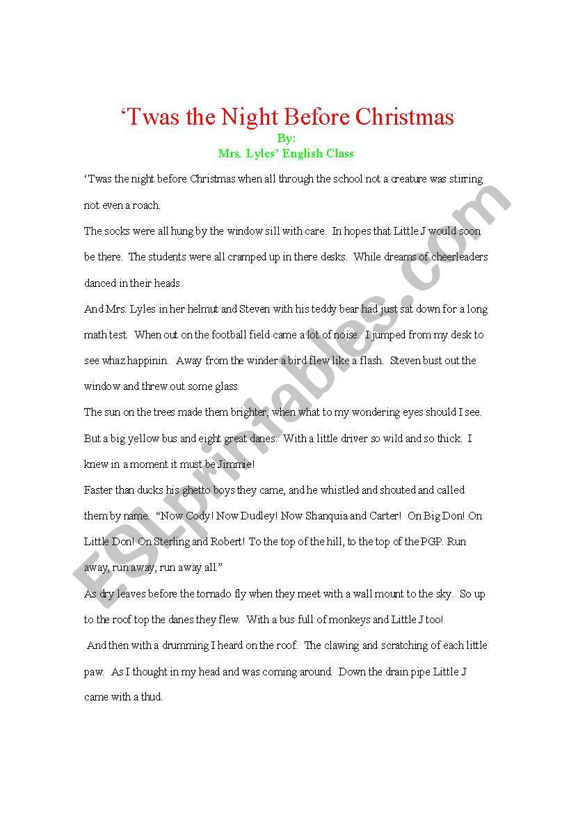 English Worksheets: Twas The Night Before Christmas Rewrite