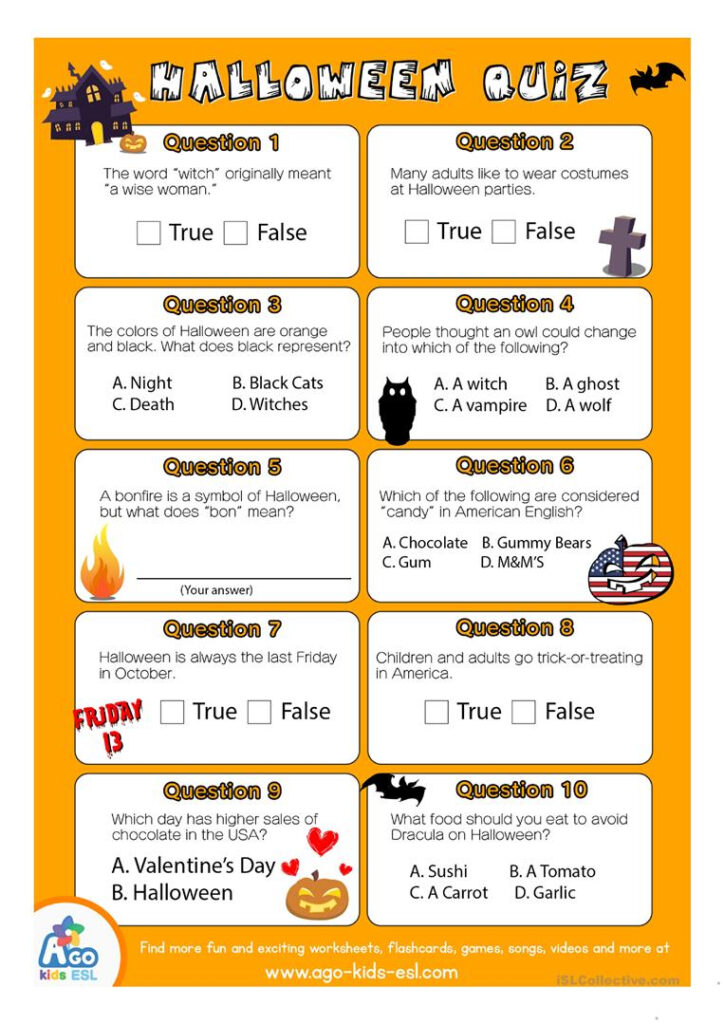 Esl Halloween Quiz Worksheet For English Class   English Esl