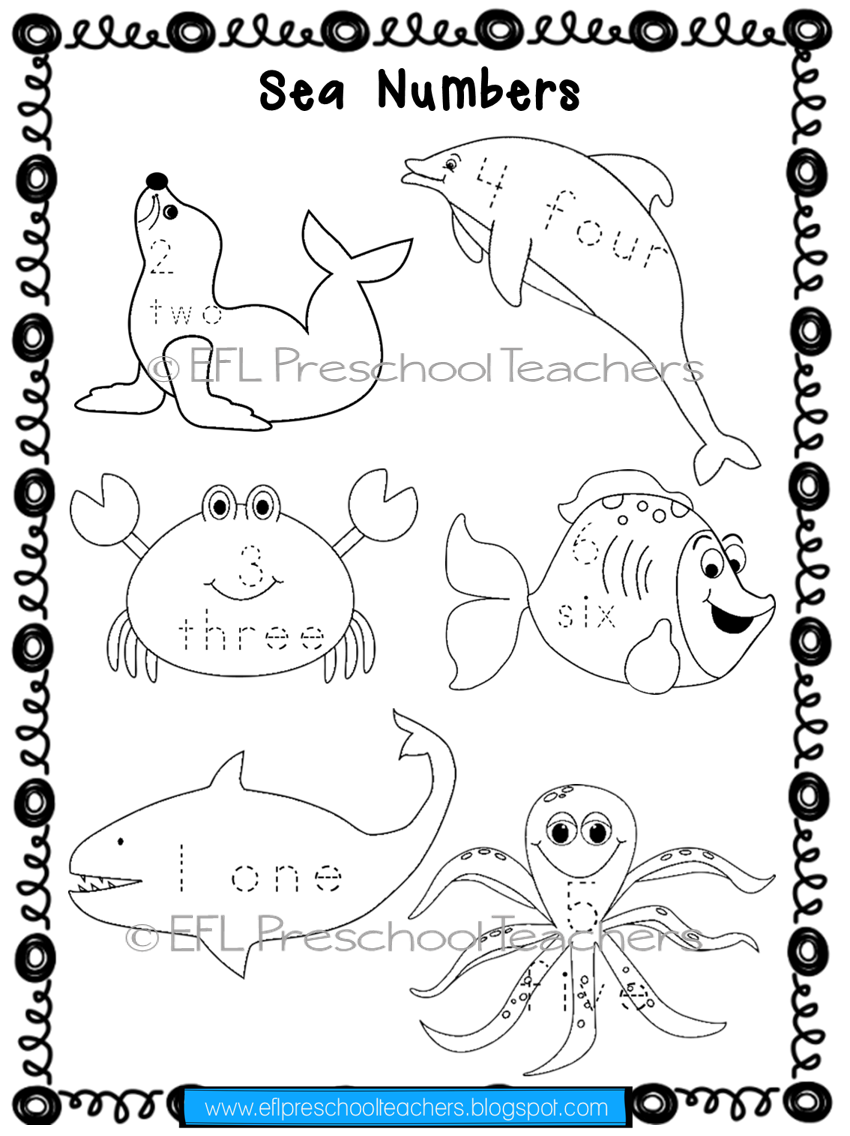 Esl Sea Animals Worksheets. Once The Children Finish Tracing