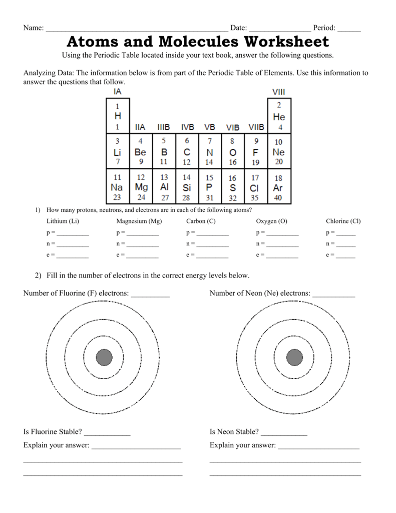 Explain It With Atoms And Molecules Worksheet Answers