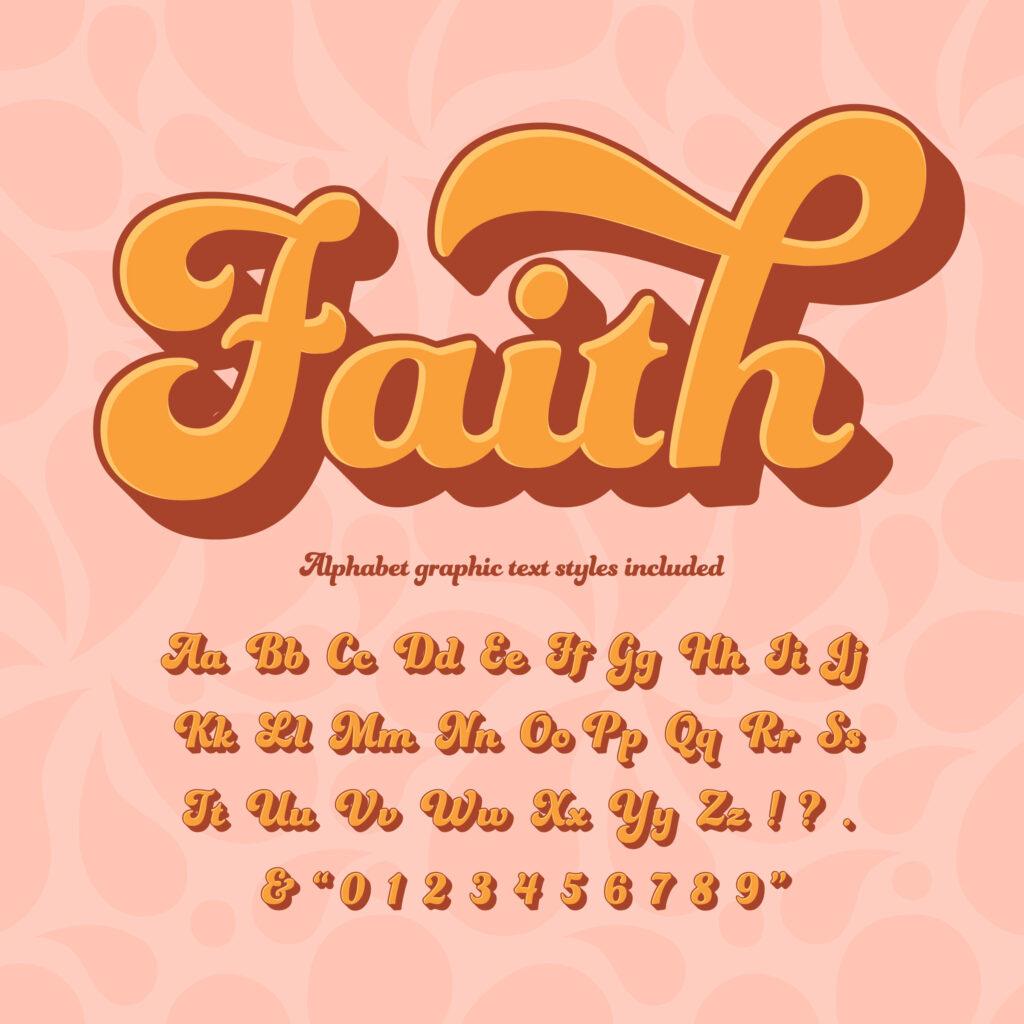 Faith 3D Retro Hippie Alphabet   Download Free Vectors
