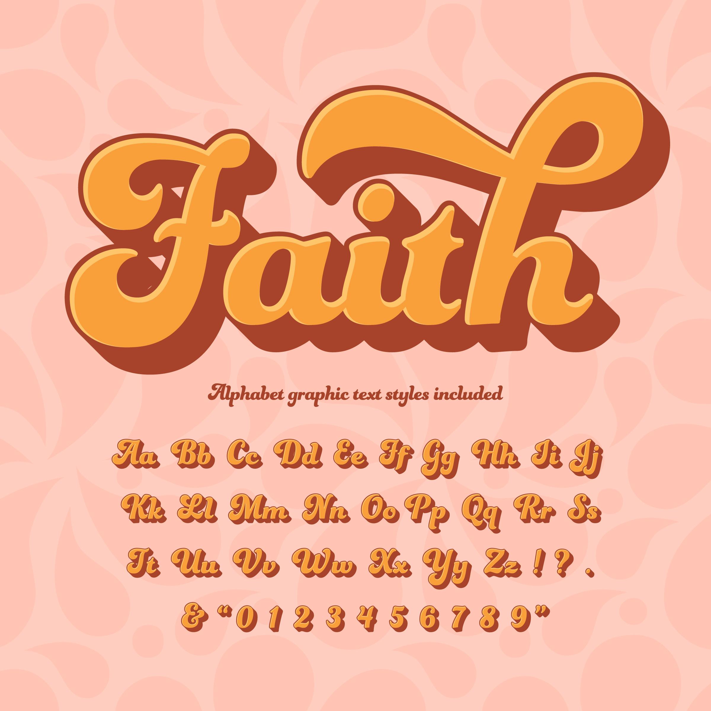 Faith 3D Retro Hippie Alphabet - Download Free Vectors