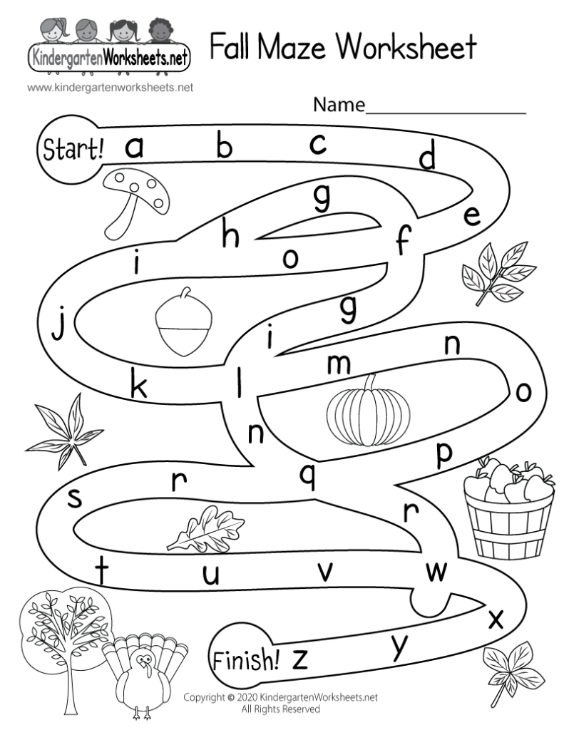 Fall Maze Activity Worksheet For Kindergarten   Free