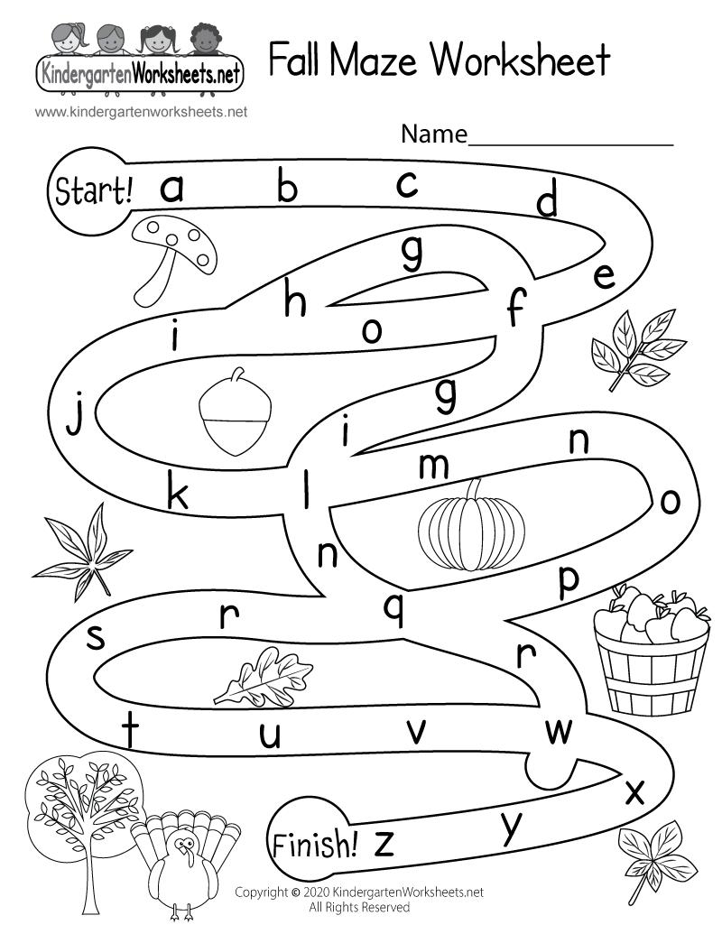 Fall Maze Activity Worksheet For Kindergarten - Free