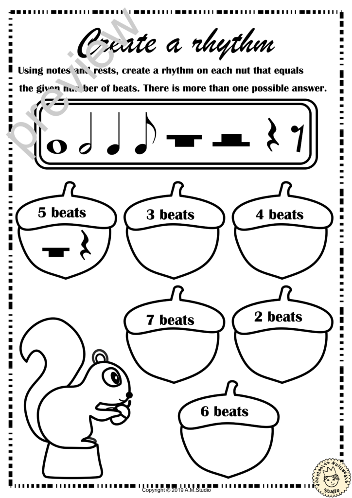 Fall Music Rhythm Worksheets For Beginners 20 * Anastasiya