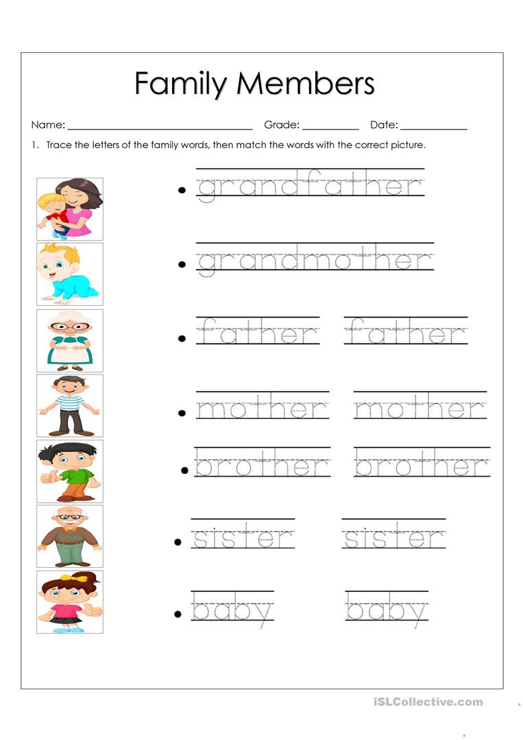 Family Members - English Esl Worksheets For Distance