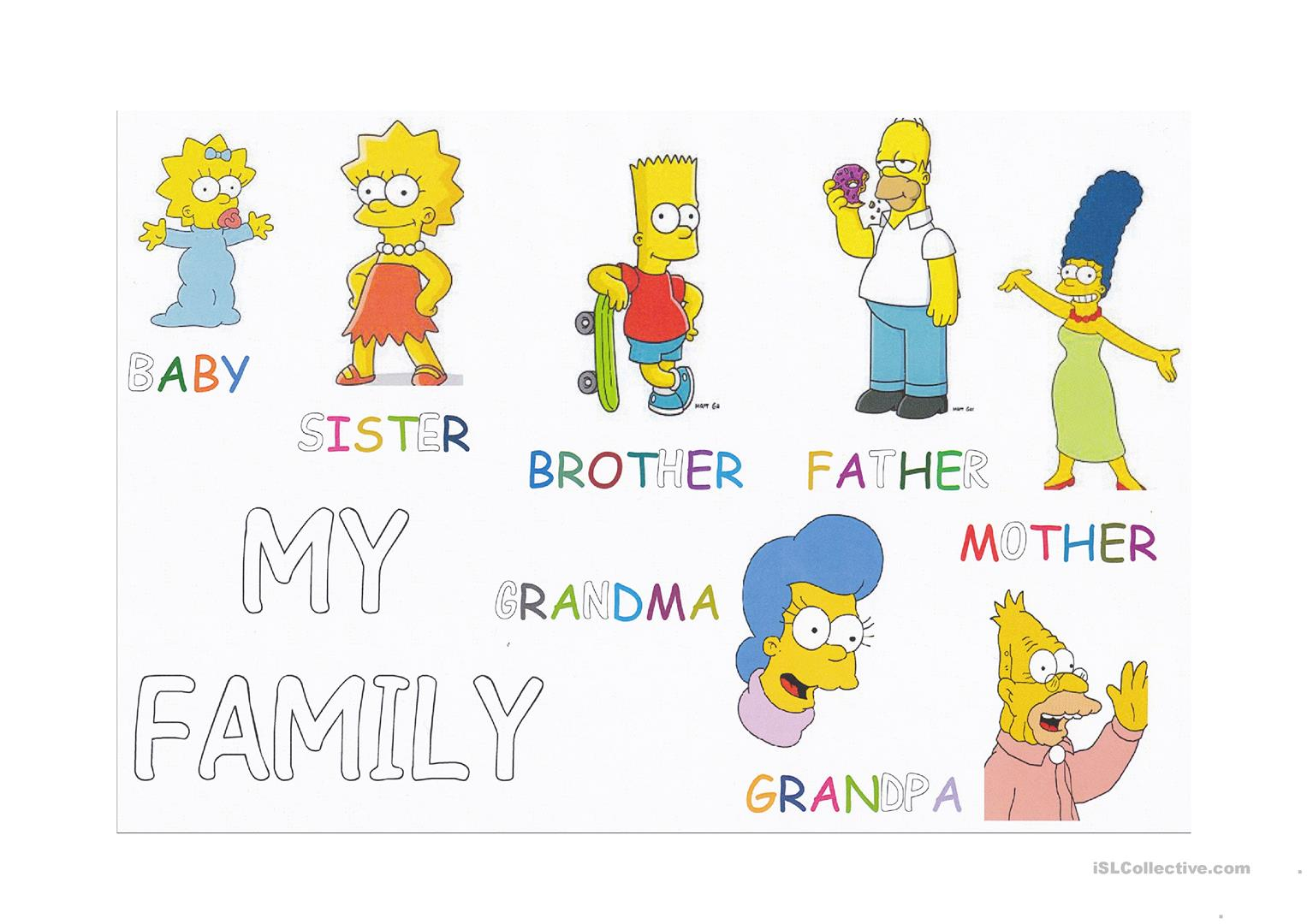 Family Members - Tracing And Letter Coloring - English Esl