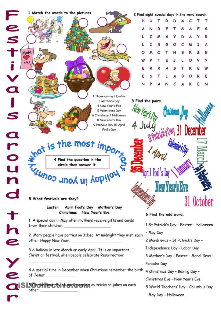 Festivals Around The Year Vocabulary Exercises | Vocabulary