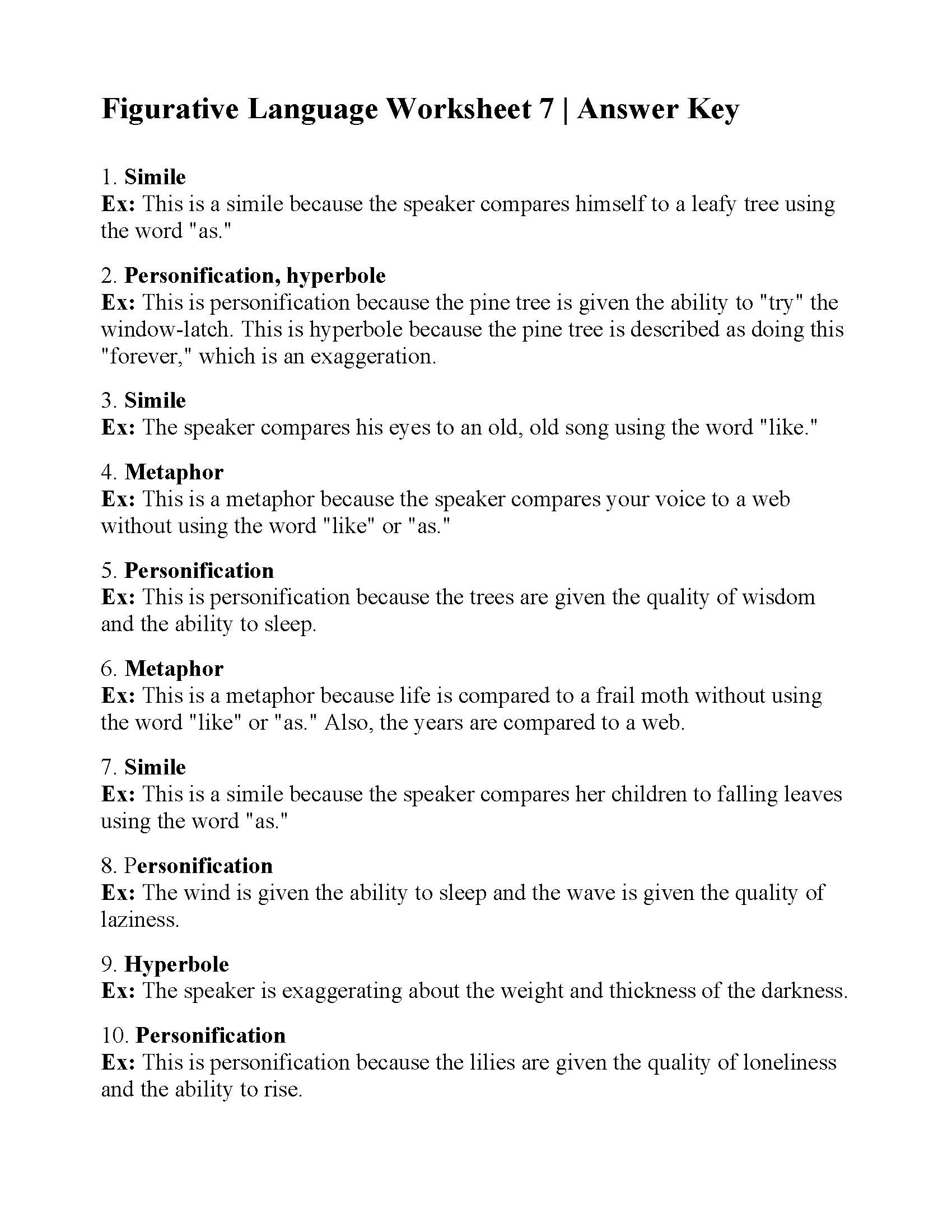 Figurative Language Worksheet Answers Printable Worksheets