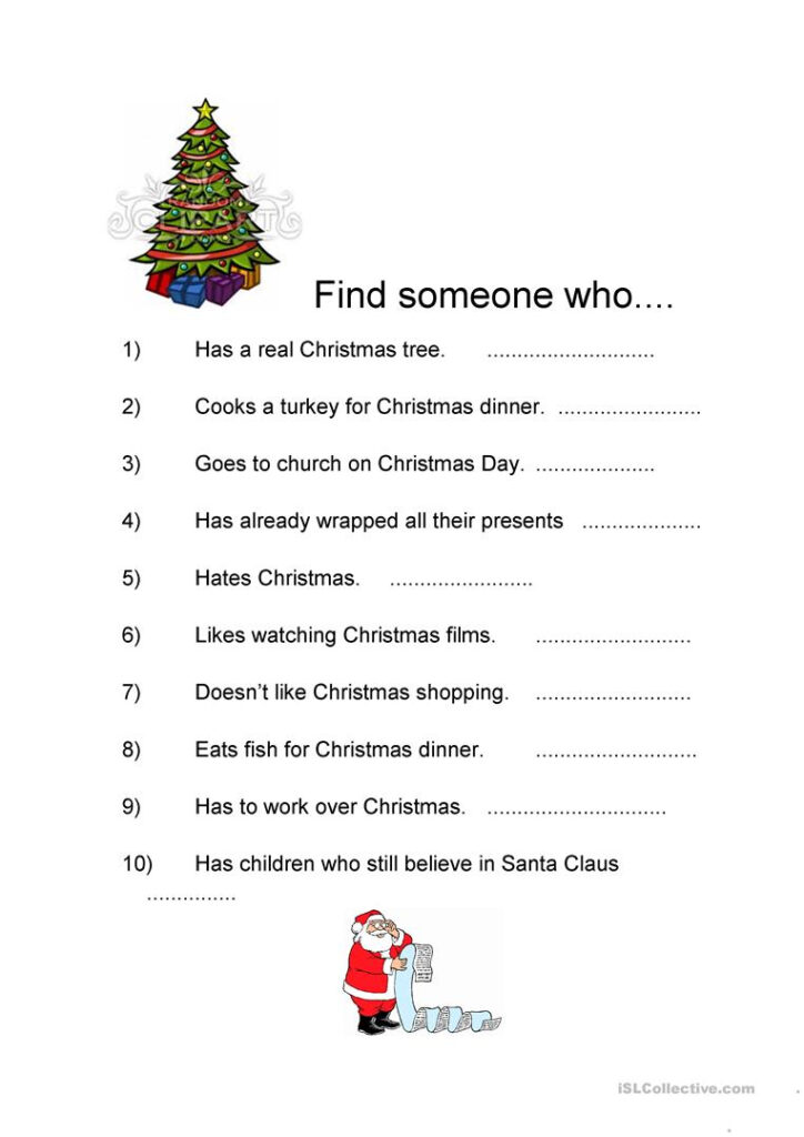 Find Someone Who + Christmas   English Esl Worksheets For