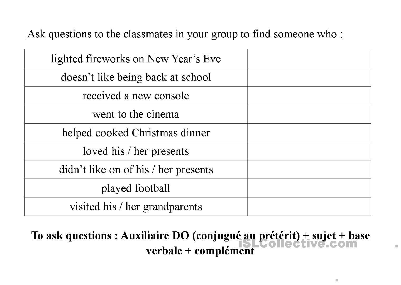 Find Someone Who Christmas Holidays - English Esl Worksheets