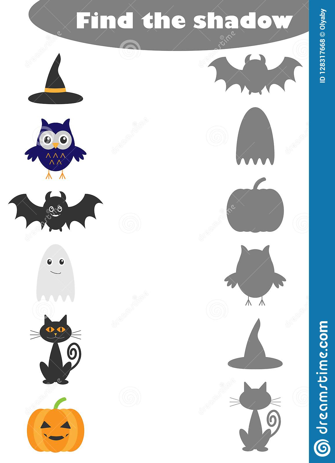 Find The Shadow Game With Halloween Pictures For Children