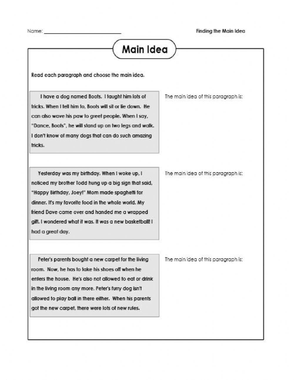 Finding The Main Idea Interactive Worksheet