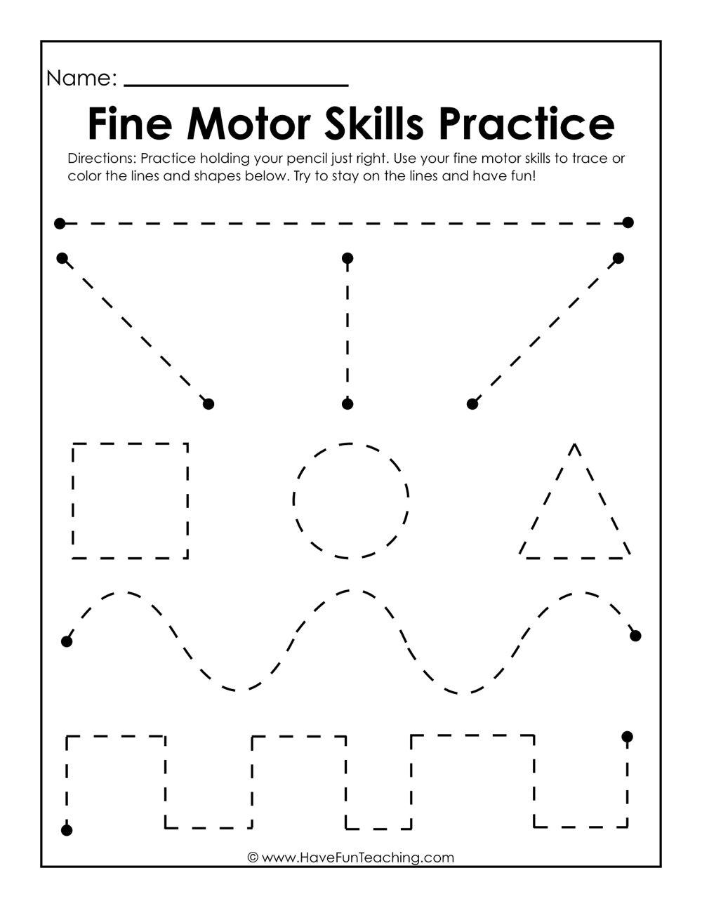 Fine Motor Skills Practice Worksheet Writing Worksheets