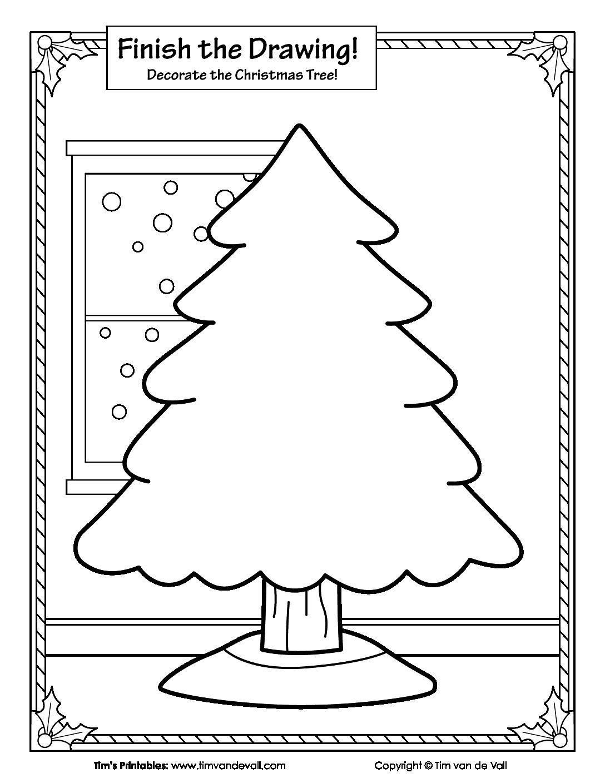 Finish The Drawing - Christmas Tree - Tim's Printables