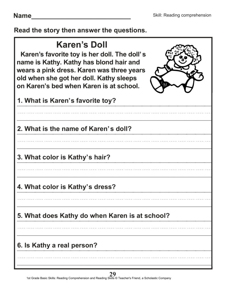 First Grade Comprehension Passages Frees Printable Pdf