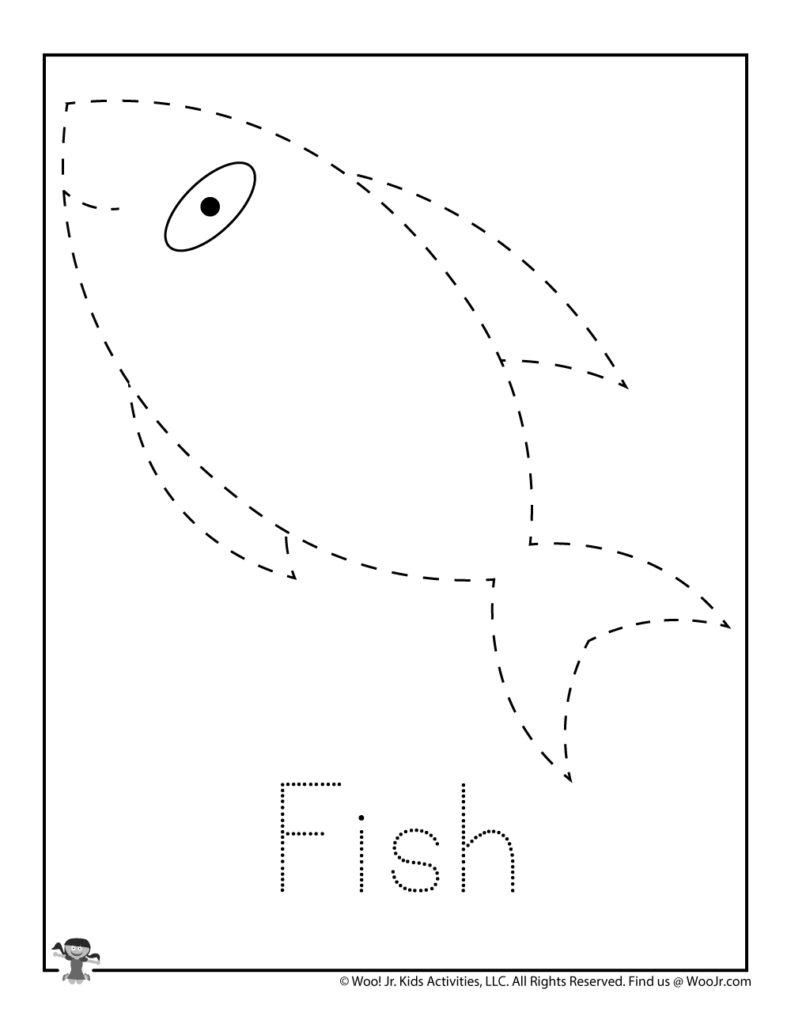 Fish Letter Tracing Worksheet For Kids   Woo! Jr. Kids