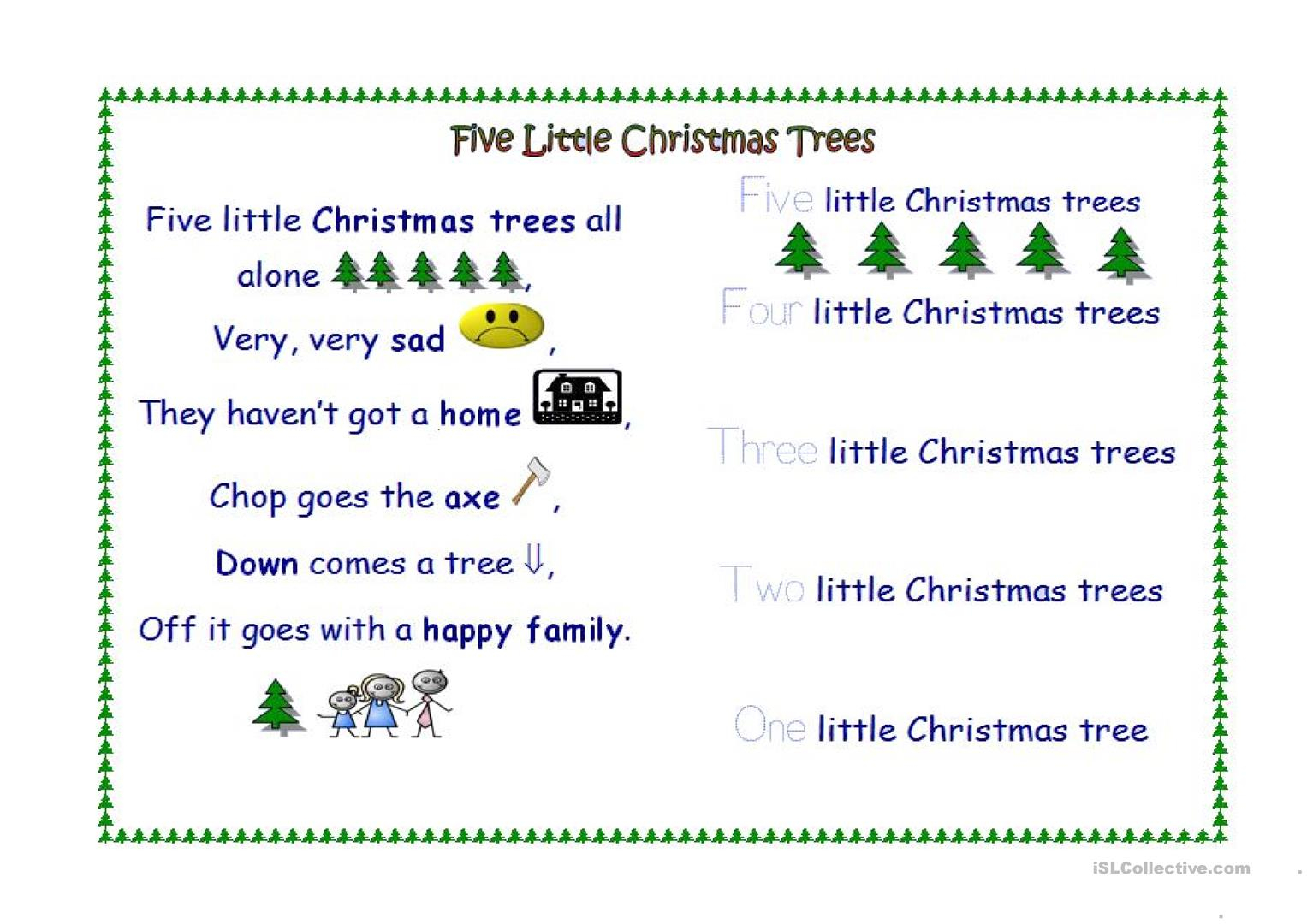 Five Little Christmas Trees - English Esl Worksheets For