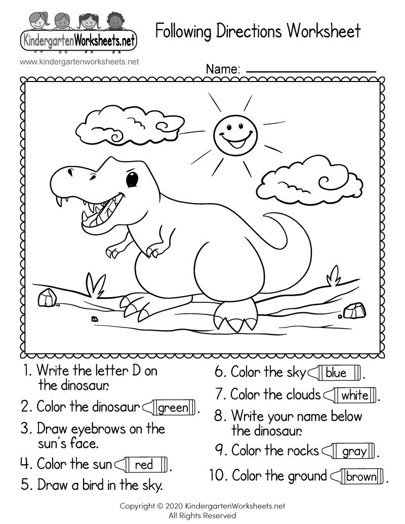 Following Directions Worksheet For Kindergarten - Free