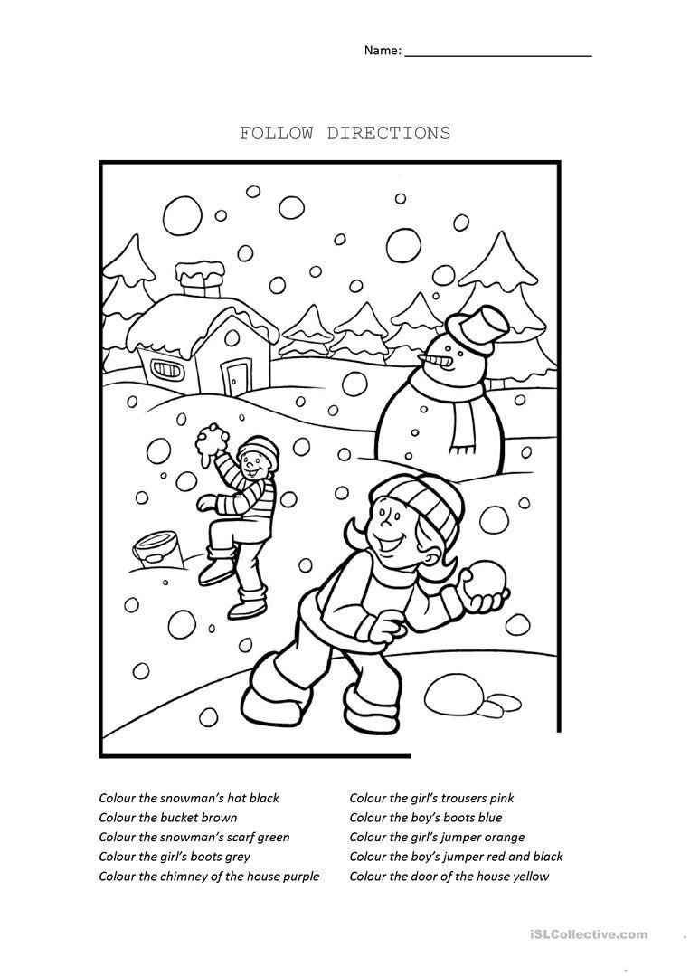 Following Directions Worksheets For Kindergarten Follow