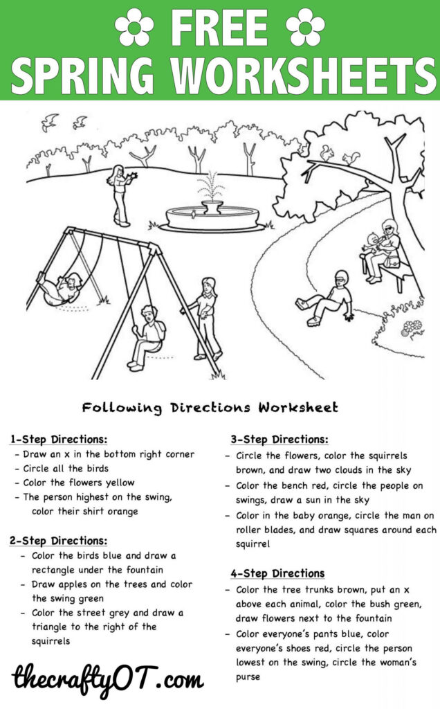 Following Directions Worksheets Kindergarten In 2020