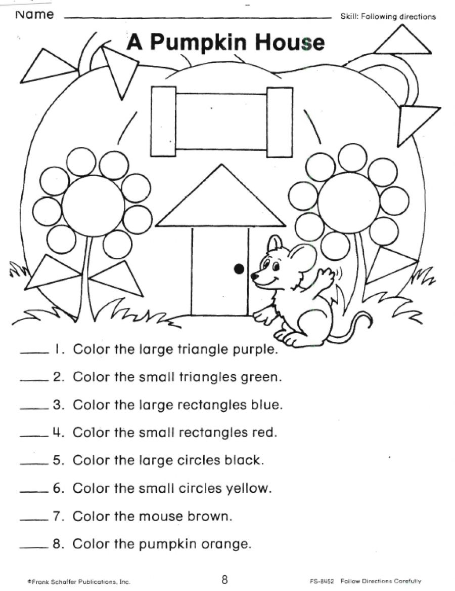 Following Directions Worksheets Shapes   Follow Directions