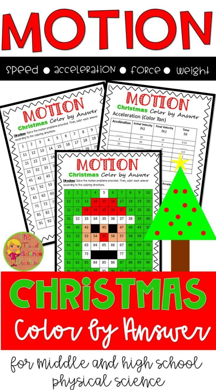 Force And Motion Christmas Colornumber Worksheet