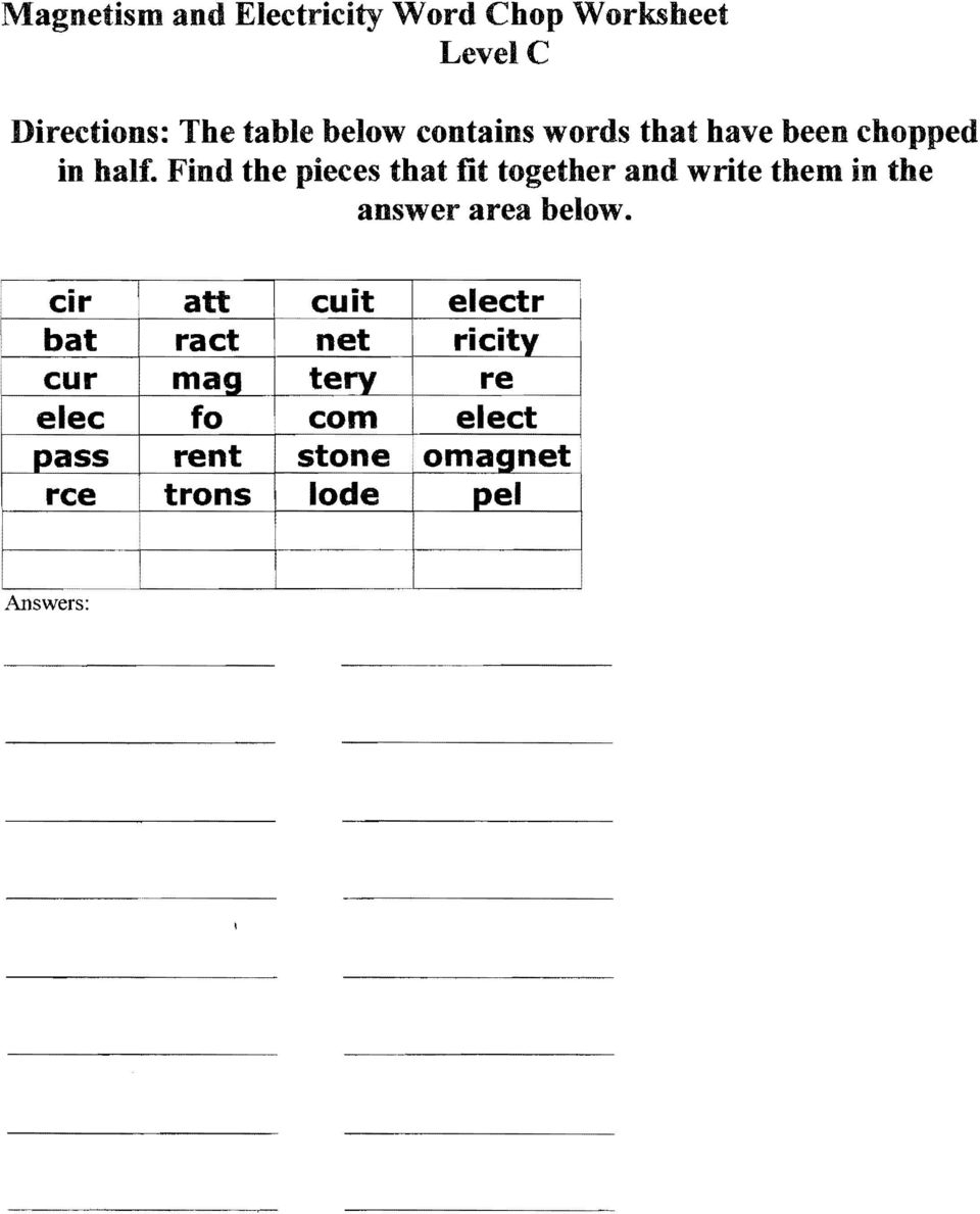 Fourth Grade Homework Packet Magnets And Electricity Due