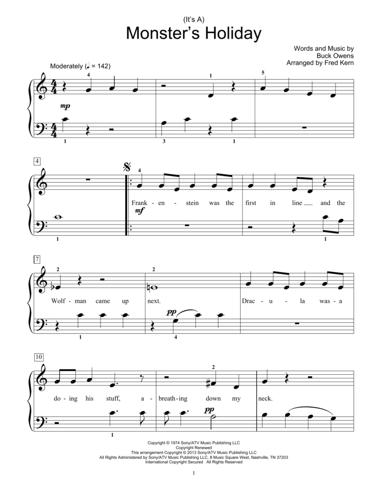 Fred Kern '(It's A) Monster's Holiday' Sheet Music Notes, Chords   Download  Printable Educational Piano   Sku: 99347