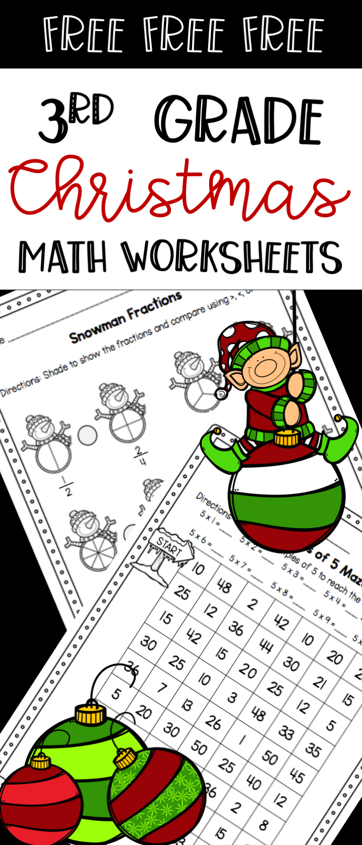 Free 3Rd Grade Christmas Math Worksheets - Comparing