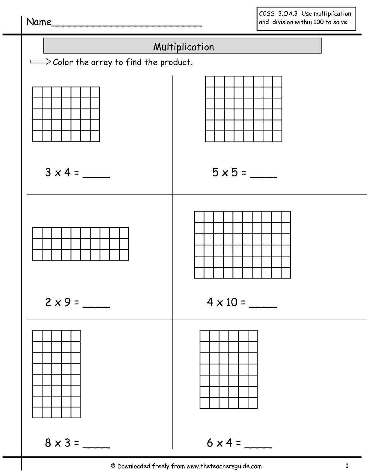 Free Array Worksheets Pictures - 2Nd Grade Free Preschool