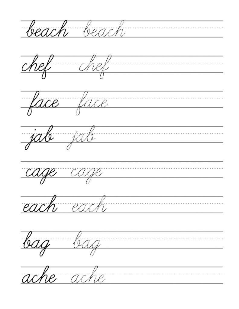 Free Beginning Cursive   Writing Template Part 3