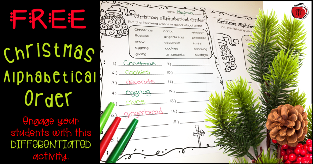 Free Christmas Alphabetical Order Worksheets   Classroom