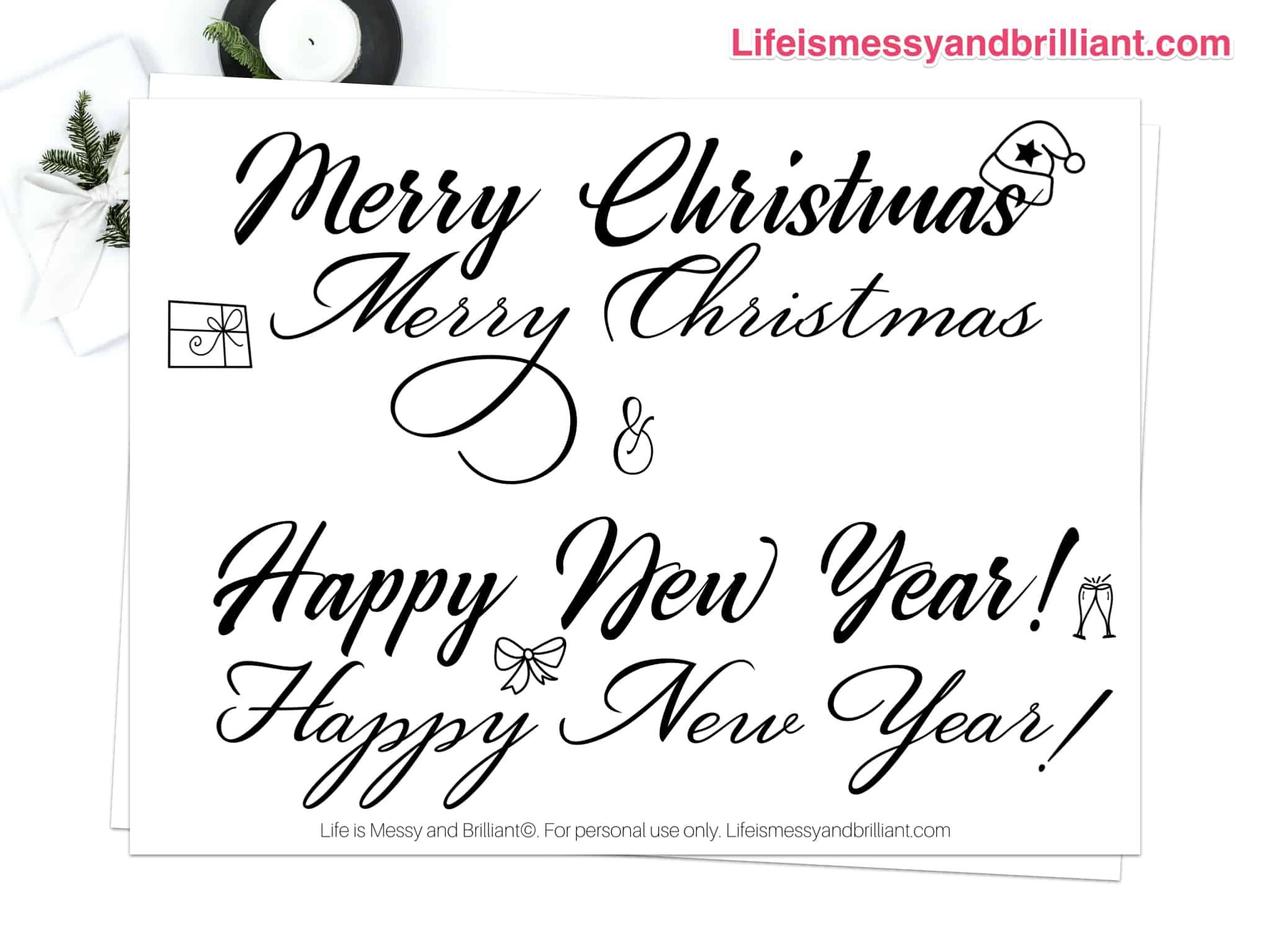 Free Christmas And New Year Hand Lettering Practice