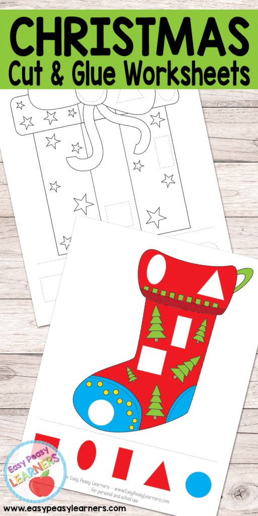 Free Christmas Cut And Glue Worksheets   Easy Peasy Learners