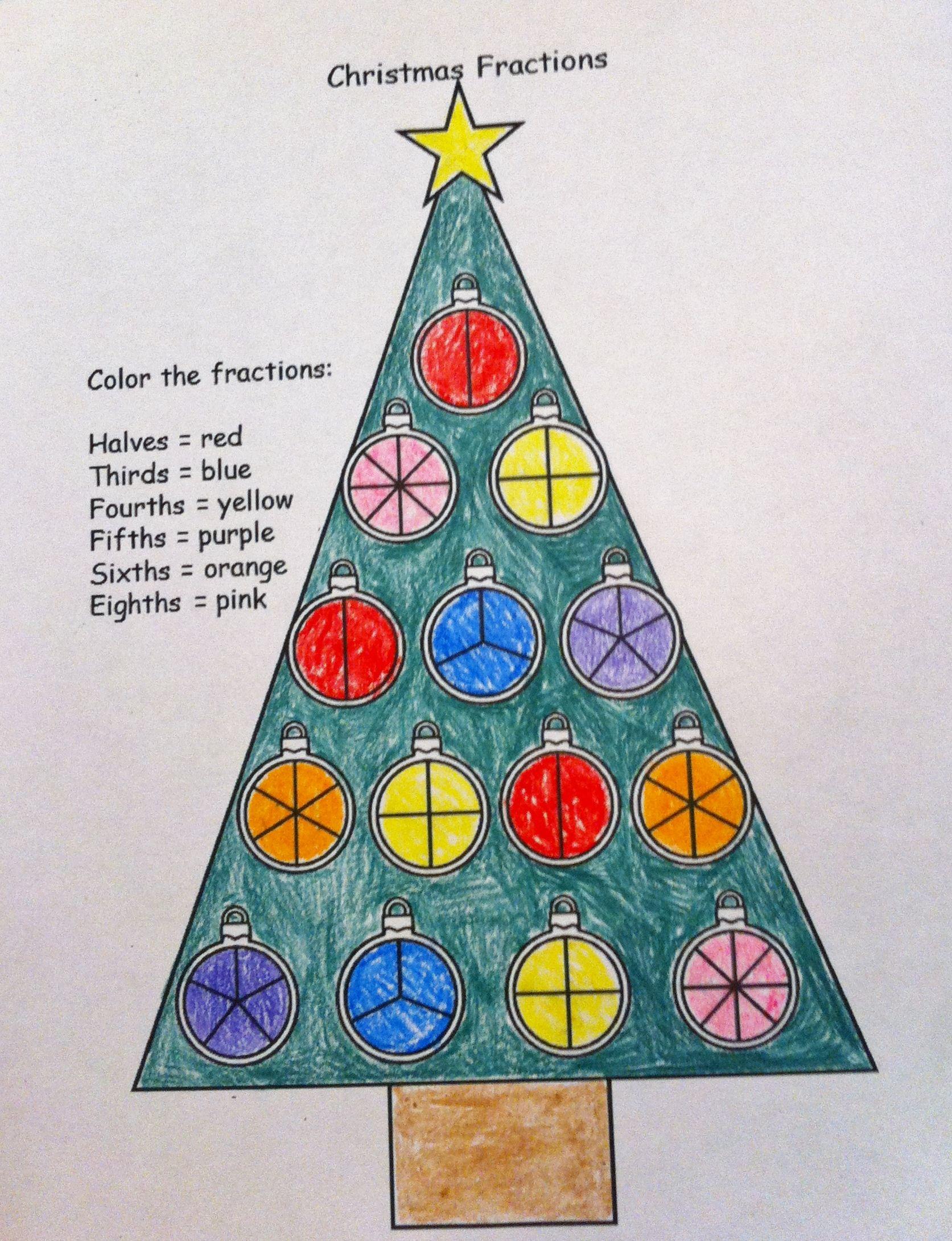 Free Christmas Fraction Worksheet! | Christmas Third Grade