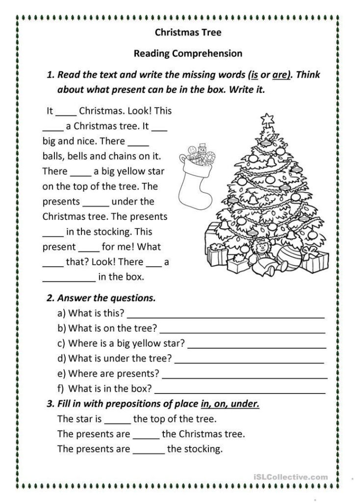 Free Christmas Reading Comprehension Worksheets Christmas